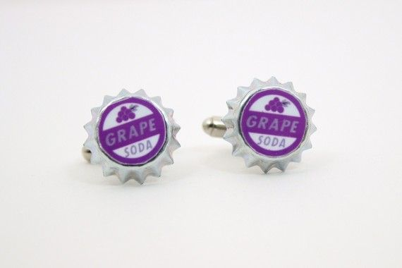 Cufflinks for Joey. Disney Pixar's Up Grape Soda Bottle Cap by JegasCreations on Etsy, $14.00