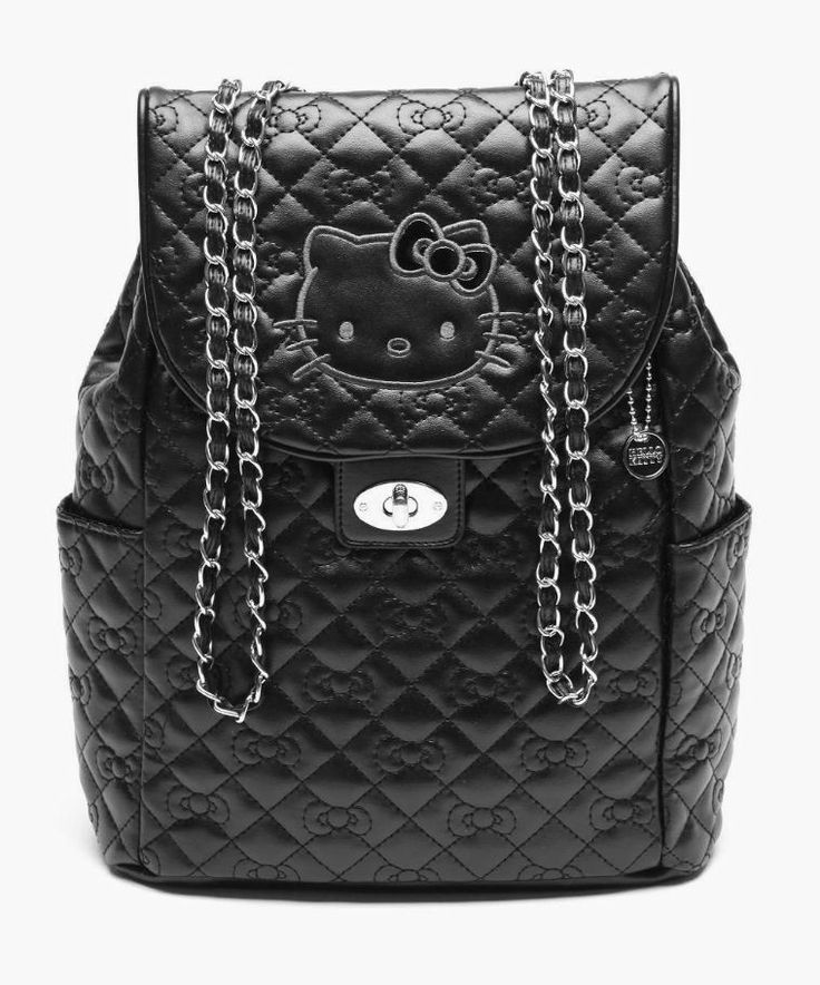 So chic... mini quilted backpack featuring #HelloKitty and chain straps