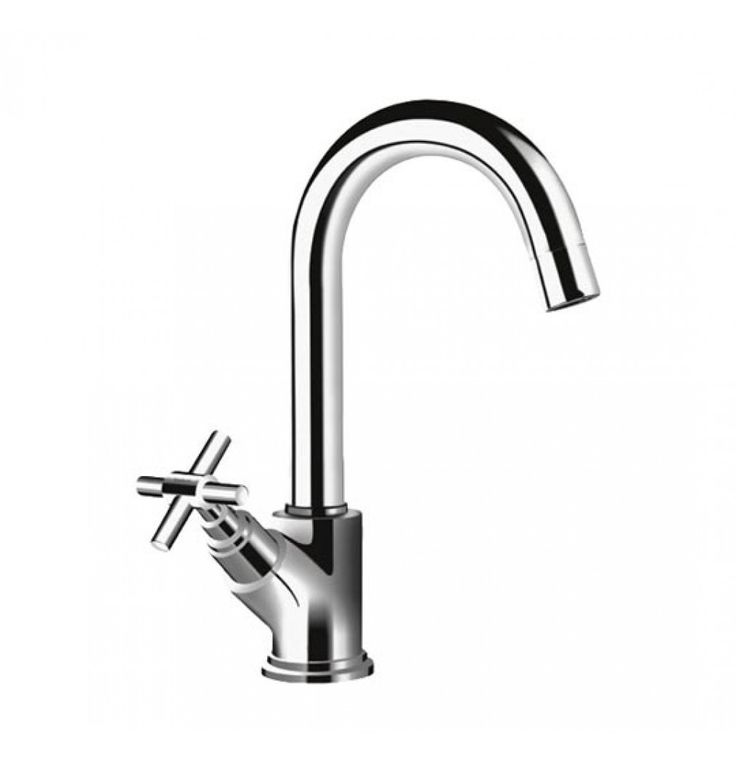 Hindware Axxis Swan Neck Tap With Left Hand Operating Knob In Chrome (F120011)