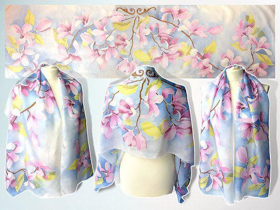 Blue silk scarf MAGNOLIA FLOWERS hand painted pastel by MinkuLUL