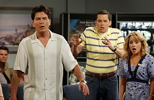Charlie Sheen, Jon Cryer, and Kelly Stables in Two and a Half Men (2003)