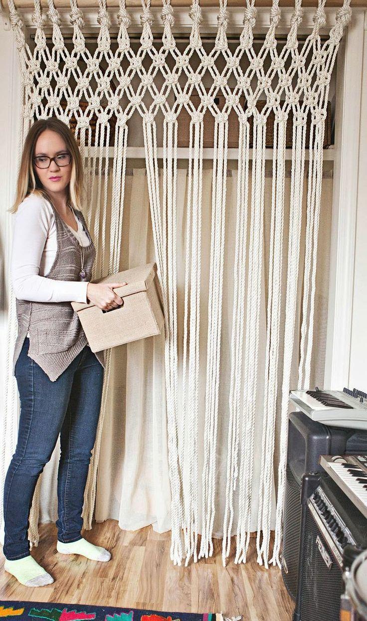 les 25 meilleures id es concernant rideaux macram sur pinterest tentures murales en crochet. Black Bedroom Furniture Sets. Home Design Ideas