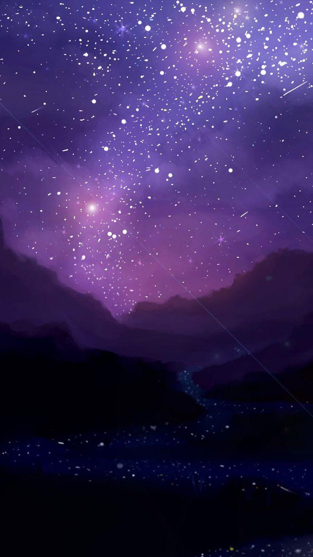 обои на айфон небо со звездами фиолетовое территория