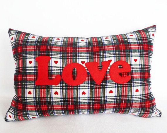 Almohada de San Valentín, amor, apliques palabras, decoración del día de San Valentín, almohada tela escocesa, país, Chic Cottage, Lumbar, acento amortiguador 12 x 18, nuevo