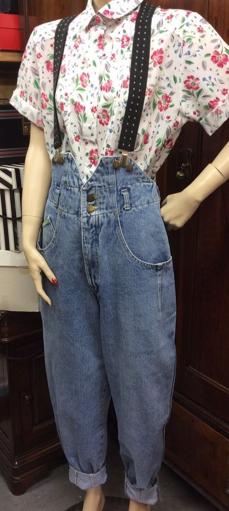 VINTAGE 1980s BRAM'S PARIS HIGH WAISTED BRACES DUNGAREES JEANS OVERSIZED FIT  | eBay