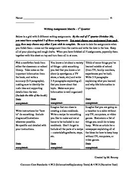 4th Grade - Writing Assignment Matrix; 9 different prompts, students choose 5 to complete by the end of 1st quarter // Common Core alligned!