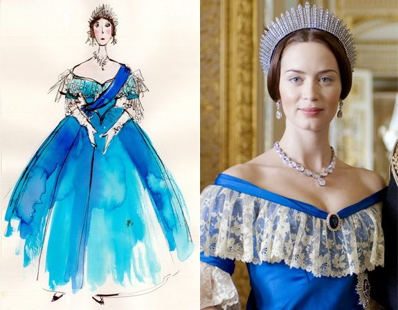 Over the course of the film, the monarch-to-be's wardrobe goes through a drastic change filled with darker colors and fitted gowns. Powell said, 'Once she becomes queen, she gets to make her own decisions and her style becomes more streamlined and sophisticated.'