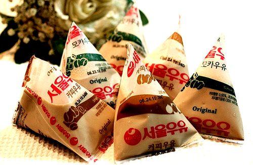 서울 커피 우유 Seoul Coffee Milk: Still sold in the same vintage design (the signature triangle) as it was sold in 1974, South Korea. This coffee milk is a classic in South Korea, as well as their banana milk! Stick a straw in the corner, and drink on the go…