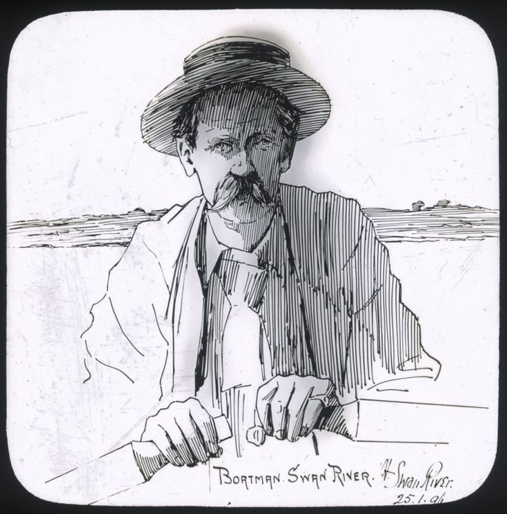 090046PD: Lantern slide of a portrait of the skipper of the Ivy, a launch belonging to the Osborne Hotel, rowing a boat on the Swan River, Western Australia, 25 January 1896.  http://encore.slwa.wa.gov.au/iii/encore/record/C__Rb4887116__S090046PD__Orightresult__U__X3?lang=eng&suite=def