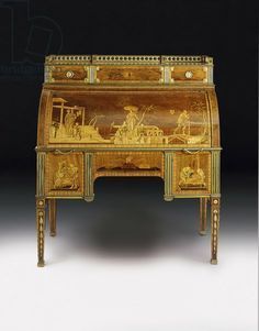 LOUIS XVI BUREAU A CYLINDRE MECANIQUE~  DAVID ROENTGEN, cabinet maker to the King. Mechanical cylinder bureau, gilded bronze mounts attributed to Francois Redmond, c.1777-80 . ormolu-mounted, brass-inlaid amboyna, tulipwood, and stained sycamore marquetry, creator Roentgen, David (1743-1807)