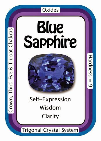 """Crystal Card: Blue Sapphire, """"My actions are guided by wisdom and awareness."""" Blue Sapphire helps to promote dreams, astral travel and the retention of information brought back into waking consciousness. It enhances intuition, mental clarity and spiritual power, all of which can assist in personal and spiritual growth.  Use HCPIN10 for 10% off  http://www.healingcrystals.com/Sapphire__Blue_Articles_59.html…"""