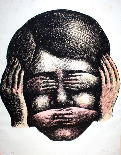 amare-habeo: Roland Topor (1938-1997) - Don't see, don't hear, don't speak (Ne rien voir, ne rien dire, ne rien entendre), N/D Color lithography