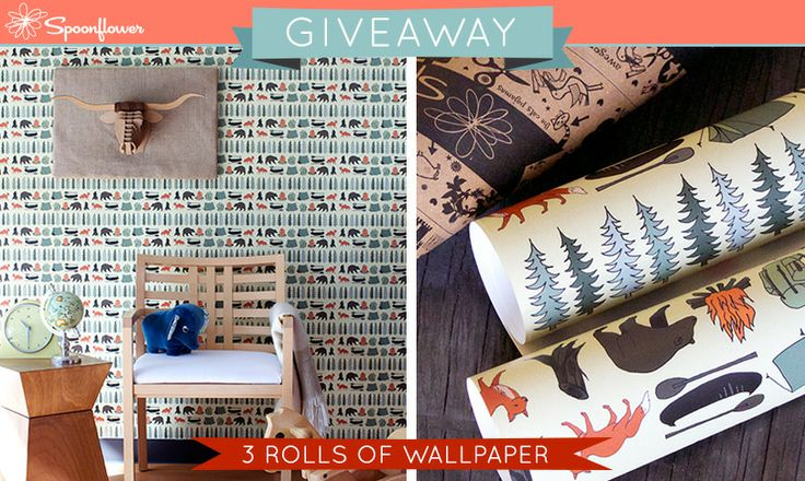 Check out this week's Spoonflower giveaway-- a chance to win three rolls of custom-printed wallpaper!