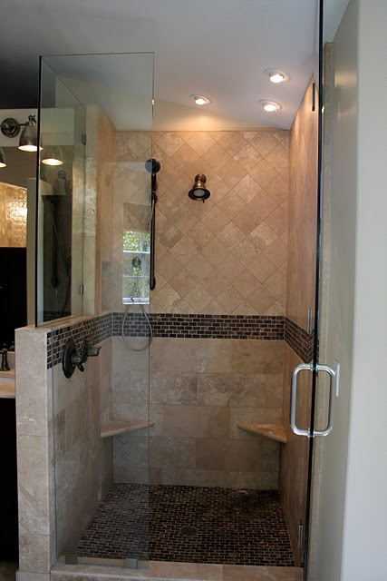 Our Shower Glass The Top Part Of The Half Wall Pretty Things Pinterest Bathroom Master