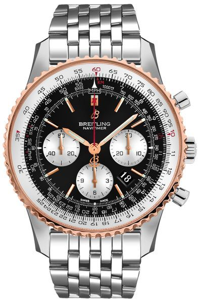 34ab888c919 Breitling Navitimer 1 B01 Chronograph 46 UB0127211B1A1 Steel Case Solid 18k  Rose Gold Bezel Black Dial Men s Watch