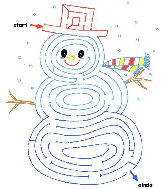 Puzzels voor kinderen: Doolhof sneeuwpop