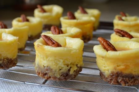 Salted Caramel Pecan Mini Cheesecakes