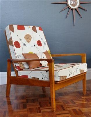Mid-century teak armchair reupholstered
