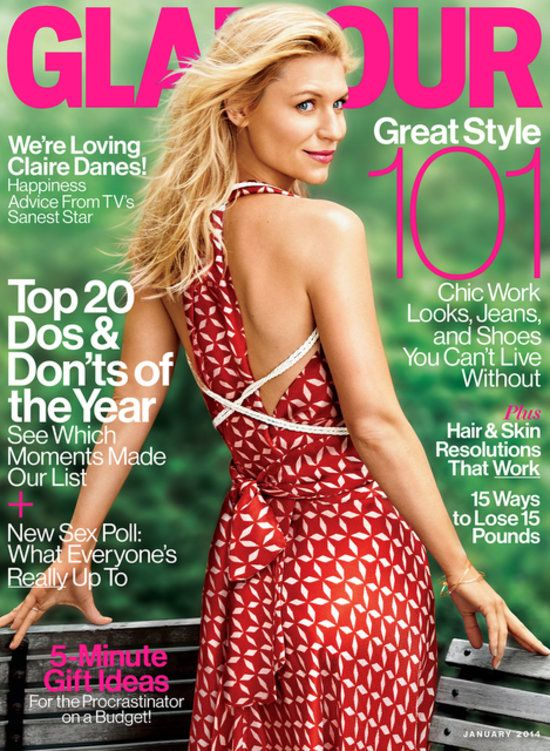 Claire Danes on the January 2014 cover of Glamour.