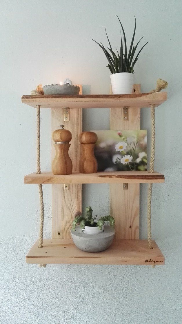 Paletten Regal Mit Kordel, Upcycling Möbel / Wooden Wall Rack Made Of  Pallets