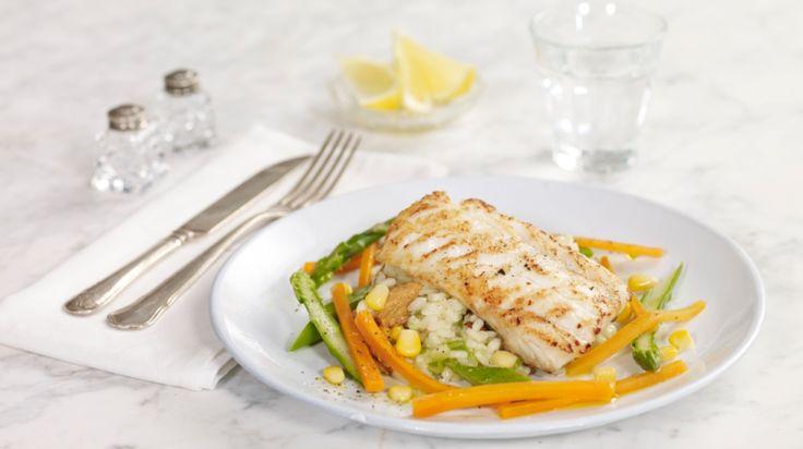 Oppskrift på Stekt torsk med risotto og grønnsaker