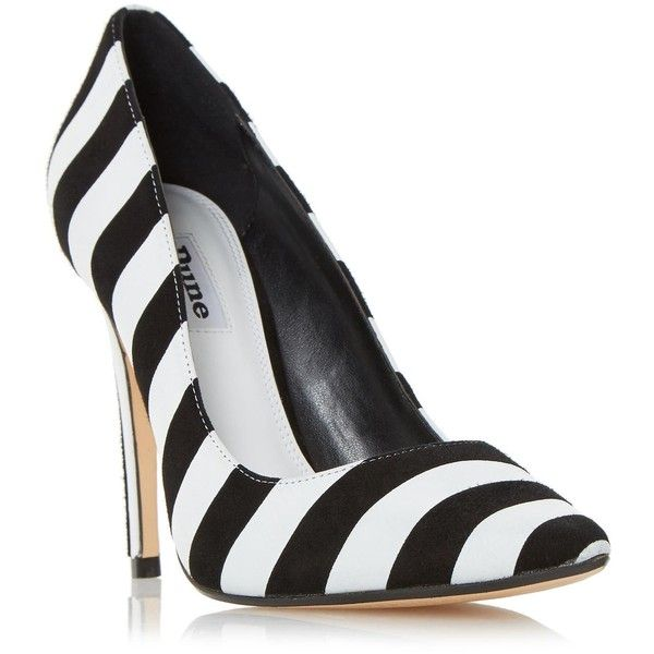 BELLISIMO Monochrome Striped Court Shoe BLACK/WHITE ❤ liked on Polyvore featuring shoes, pumps, pointed toe pumps, high heel pumps, black and white pointed toe pumps, black white pumps and pointy toe shoes