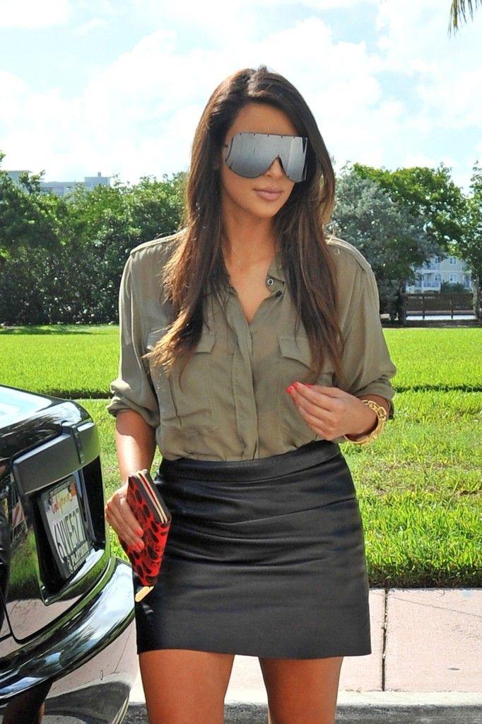 Kim Kardashian Designer Shield Sunglasses - Kim Kardashian Looks - StyleBistro
