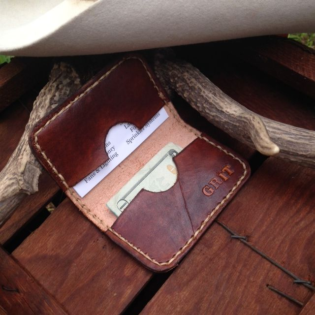 Leather Credit Card Wallet.  Custom name or initial engraving available.