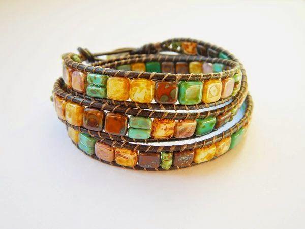 Wrap bracelet with CzechMates Tile and Bricks