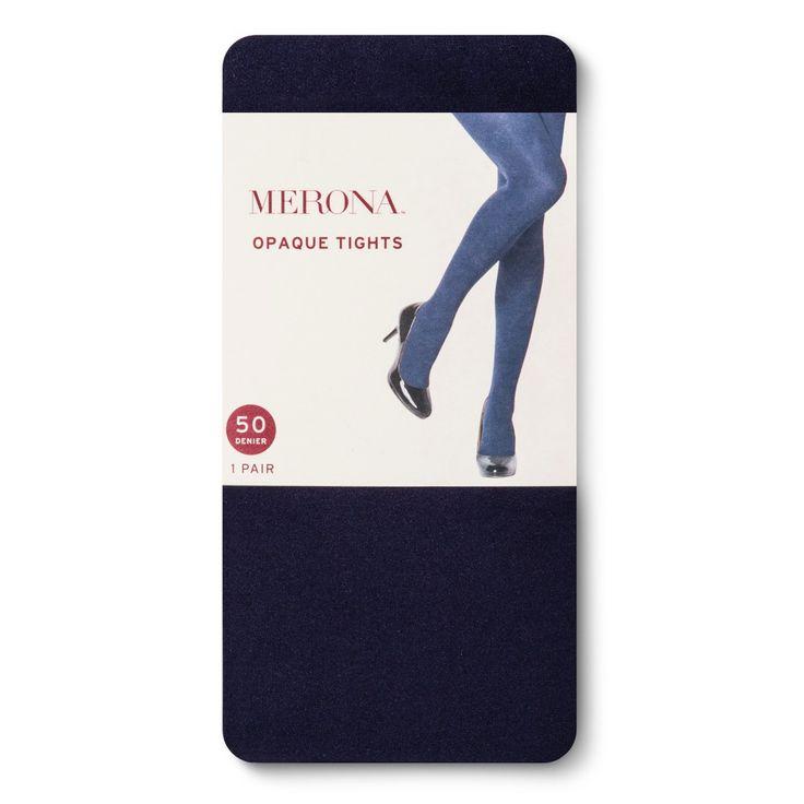 Women's 50D Opaque Xavier Navy Tights M/L - Merona, Blue