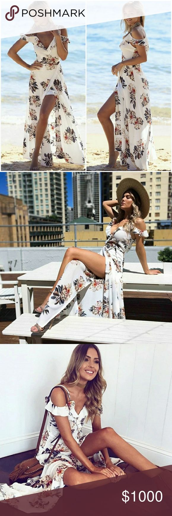 •Just In•Cold Shoulder Floral Print Maxi Dress • Re ordering more sizes let me know below what size you need.  White floral print maxi dress with slit up the side and cold shoulder ruffle vneck top.  Sizing: S 4-6 M 8-10 L 12 Material: Polyester AJ's Threads  Dresses Maxi