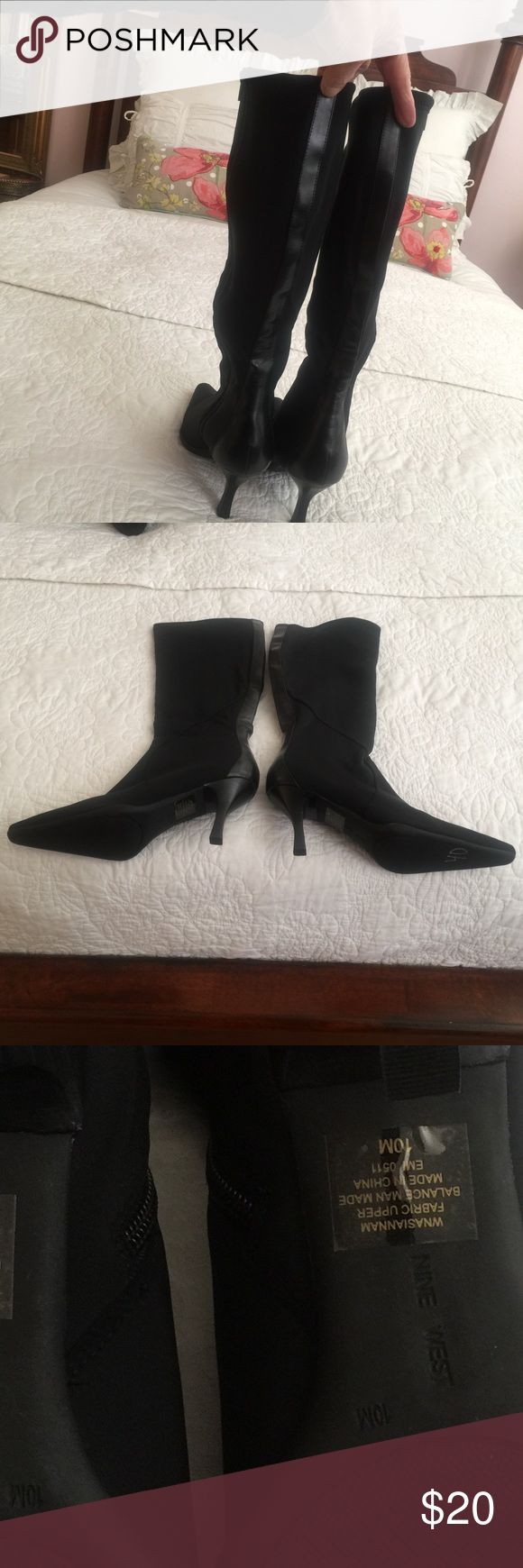 Nine West boots❤👢❤ Nine West black microfiber boots, size 10, never worn. These boots are a little stretchy with leather strip down the back. NWOT Nine West Shoes Heeled Boots