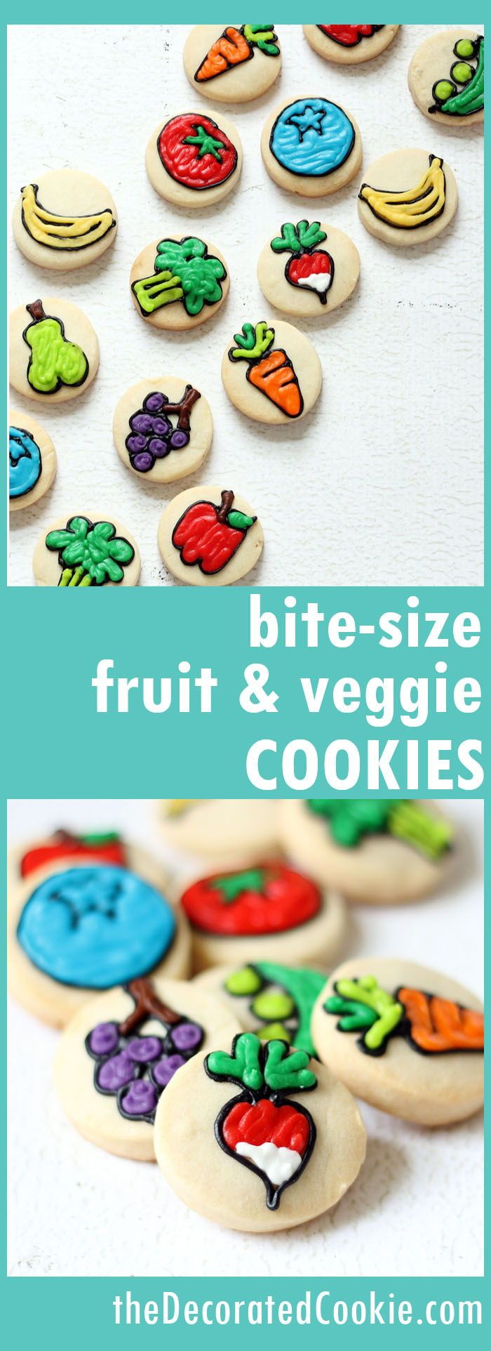 Bite-size fruit and vegetable cookies, a fun treat for spring or a fun food idea for a Garden Party.