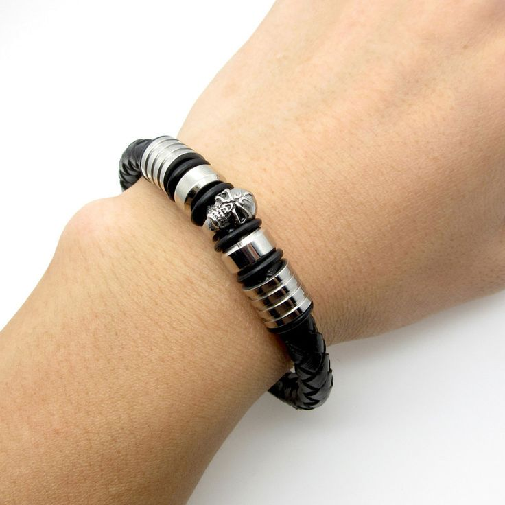 Men Pirate Style Skull Leather Bracelet with Cuff Braided Wrap Black & Brown Colour.