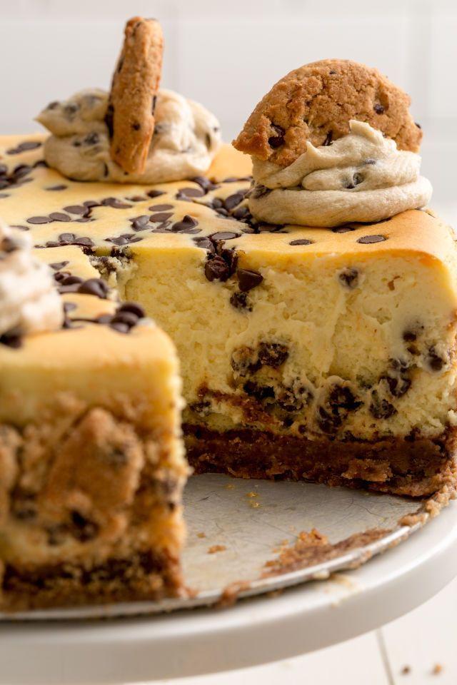 This Chocolate Chip Cookie Dough Cheesecake has crust made from crushed cookies.