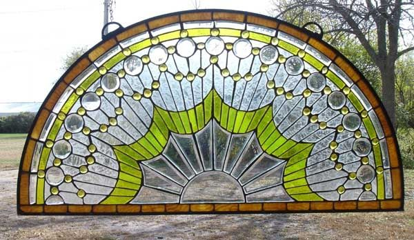stained glass half moon window over door - Google Search
