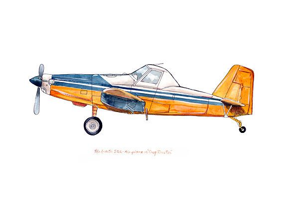 Air Tractor 502 Crop Duster classic airplane por FlightsByNumber, $20.00