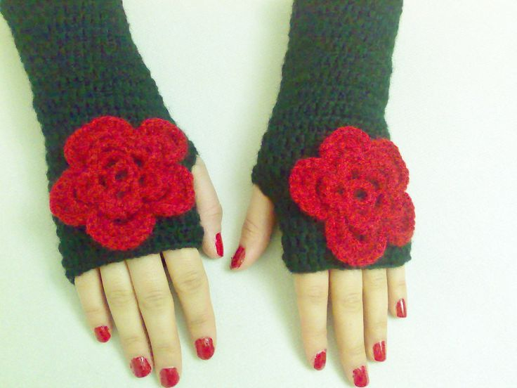 Discount! Valentines day gifts Black Gloves Fashion arm warmers Mittens Winter Accessories hand crochet gloves women accessory women gloves by BloomedFlower on Etsy https://www.etsy.com/listing/95350825/discount-valentines-day-gifts-black