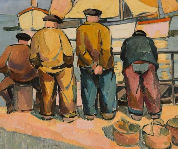 """Pierre De BELAY (1890-1947) """"Marins sur le quai"""" hsp sbg 50 x 60"""
