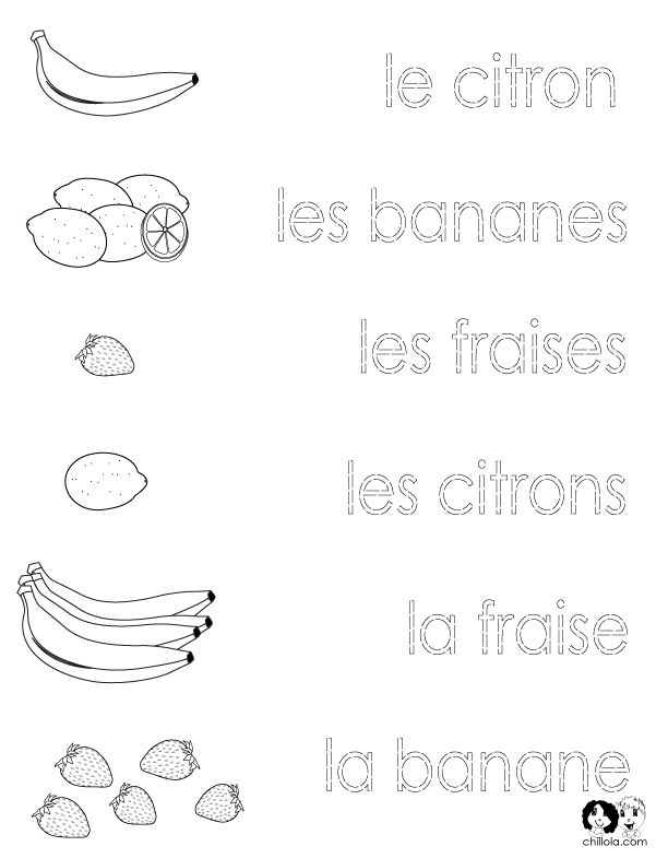 French Printouts for Children - Fruit