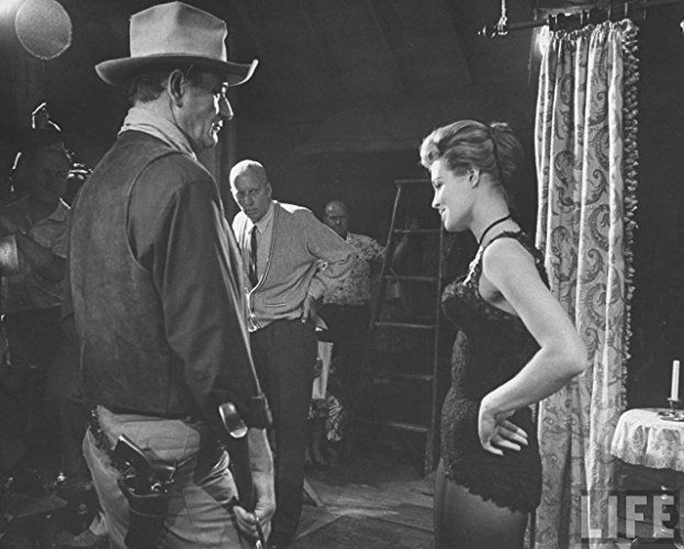 John Wayne, Angie Dickinson, and Howard Hawks in Rio Bravo (1959)