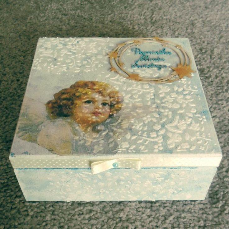 #pamiątkachrztu #pudełko #box #case #decoupage #angel #stars #christening