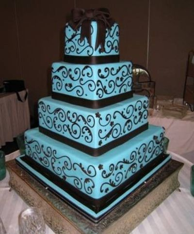 Turquoise And black Wedding Colors | turquoise and black swirl cake / wedding cakes - Juxtapost