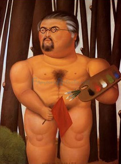Fernando Botero, Self Portrait With A Flag Aka Autoritratto Con Bandiera,  oil painting on canvas  http://art-now-and-then.blogspot.ro/2013/09/fernando-botero.html