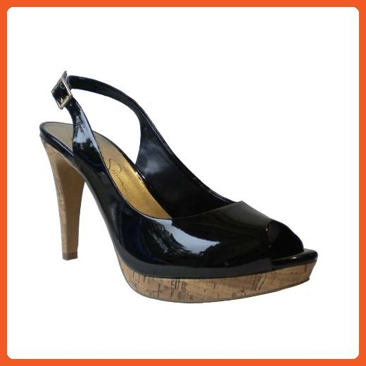 Jessica Simpson Women's Achillea High Heel Open-Toe Sling,Black Patent Cork,10 M US - Pumps for women (*Amazon Partner-Link)