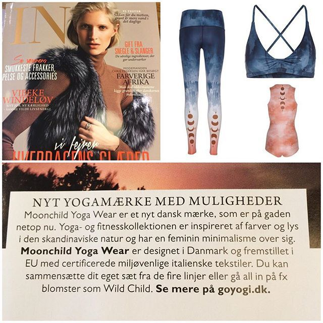 """Our new collection of yoga and fitness fashion """"New Moon Rising"""" in Danish IN Magazine #MoonchildYogaWear"""