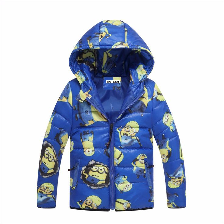 New children coat minion wadded jacket children outerwear winter boy coat cartoon Hooded baby boy jacket warm children clothing