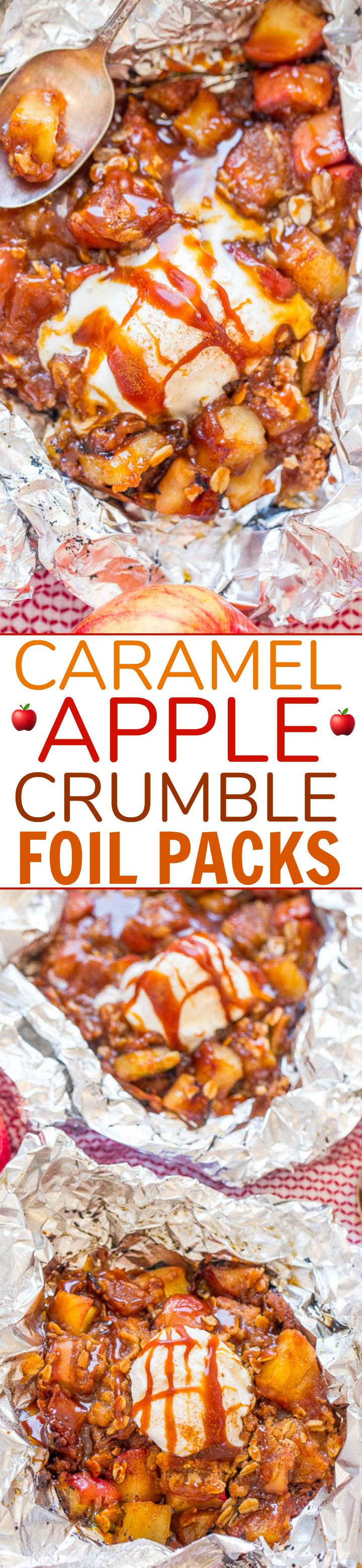 Caramel Apple Crumble Foil Packs - EASY, zero cleanup, made on the grill (or oven) in record time, and DELISH!! Juicy apples, chewy crumble topping, and luscious salted caramel! So irresistible!!