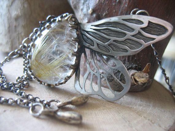 Golden Rutilated Quartz Wings Necklace by EyvindsAlchemy on Etsy