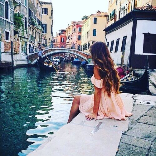 girl, dress, and venice image